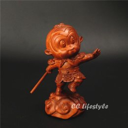 Antique Wood Decor Australia - Wood statue monkey King Sun wukong Journey to the west China gift carved creative decor Figurine home decoration Miniature sale