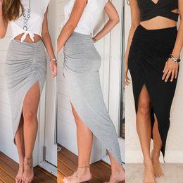 Black Satin Maxi Skirt NZ - Skirts 2017 New Fashion Womens Ladies Ruched  Side Split Slim b55b4f0fa
