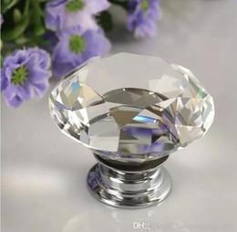 Crystal Pull Cabinet Handles Australia - 40mm Diamond Crystal Drawer Pulls Knobs Glass Alloy Door Drawer Cabinet Wardrobe Pull Kitchen Cabinet Handle Knobs GGA942