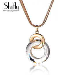 snake woman costume 2019 - 2 Round Circle Pendants Crystal Long Snake Chain Necklaces For Women Gold Silver Color Women Costume Jewelry Party Gifts
