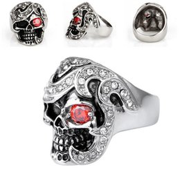titanium sport Australia - Men's Biker Titanium Stainless Steel Ring Stainless Steel Skull Ring For Man Unique Gothic Punk Retro Sport Biker Skeleton Male Finger Rings