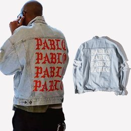e33a265c6ba7 Kanye West Jacket Coat Pablo Denim Jacket Destroyed Ripped Jeans Biker  Jackets For Men Hip Hop Streetwear M-2XL BFSH0615