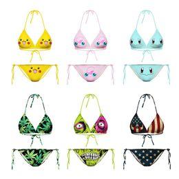 Hot springs swimwear online shopping - Lady Swimwear D Starry Sky Digital Printing Femme Bikini Triangle Woman Hot Spring Swimsuit Sexy Two Piece Suits sl V
