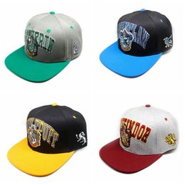 768aa8d3168 4 Styles Harry Potter Hats Gryffindor Slytherin Skull Caps Hufflepuff  Ravenclaw Cosplay Costume Hats Sports Caps CCA10238 50pcs