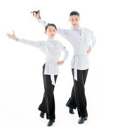 4a592cde89 Latin Dance Shirts White Long Sleeve Men Competition Performance Wear Boys  Dance Shirt Samba Ballroom Top Custom Made DN2515
