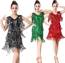Silver Nylon Sequins NZ - sexy new years eve outfit with fringe tassels Latin dance dress Red purple green black gold silver rose red black silver sapphire blue