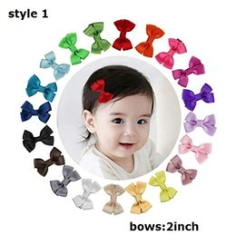 "Hair Clip Cover Baby UK - HOT SALE Tiny 2"" Hair Bows Fully Covered Hair Clips for Baby Girls Toddlers Infants grosgrain ribbon mini hair bows 100pcs"