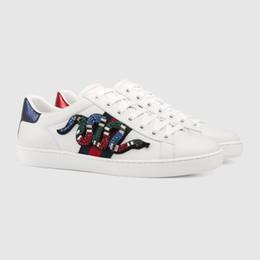 2018 новый с Box TOP Luxury Brand белый кристалл Rhinestone Ace вышитые низкой верхней кроссовки Alethtic Повседневная обувь мужчины и женщины Skate обуви