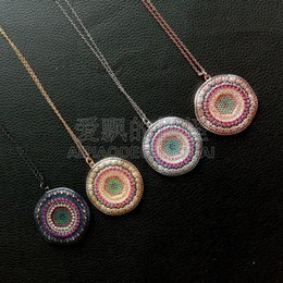 "$enCountryForm.capitalKeyWord Australia - N053113 17"" 38mm Micro Pave Cz Coin-shaped Pendant In Four Colors Chain Necklace"