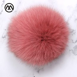 1e40a70568b Leather raccoon fur pompom real fox fur ball cap 15cm bonnet nature fluffy ball  hat winter accessories knit hat and scarf