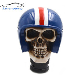 Skull Lever Australia - Gzhengtong Carved Skull Universal Fit Car Auto Gear Stick Shift Lever Knob Blue Color Car Accessories Car Stying