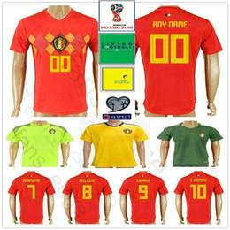 59413b7cc 2018 World Cup Belgium Soccer Jersey 10 E.HAZARD 7 DE BRUYNE 4 KOMPANY 9  LUKAKU 8 FELLAINI Custom Adult Kids Football Shirt