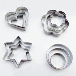 heart cutters NZ - Cookie Cutter 24 Pcs set Stainless Steel Fondant Cake Baking Mold Round Heart Flower Star Shape Biscuit Moulds