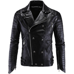 Punk Motorcycle Jacket Australia - Punk Men's Cari Leather Motorcycle Leather Slim Harley Jacket men's faux leather coat