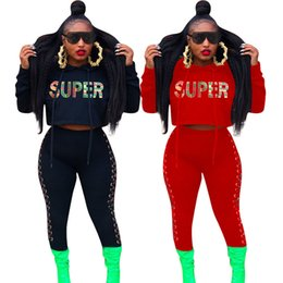 Women crop lace online shopping - Winter Autumn SUPER letter Tracksuit for women Crop Hoodie sweater outwear Laced Pants sports jogger set MMA932