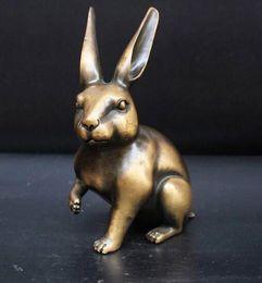 Antique Metal Rabbit Australia - Pure copper brass ornament, bronze, zodiac, rabbit, collectibles, gifts, home office decoratio