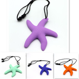 chew toy baby Australia - FDA Silicone Baby Teether Baby Chewing Teething Child Teething Toys Colorful Comfortable Size Novelty Design Starfish With Adjustable Cord