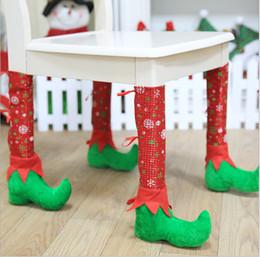 $enCountryForm.capitalKeyWord Australia - New Christmas carnival decoration Christmas restaurant bar chair set stool table set decoration supplies calico flannelette