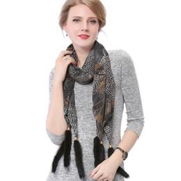 China Silk Scarf Mink Fur Tassel Shawl Printed scarf Shawl 175*35 CM Scarf Women 2018 C18112001 supplier fashion mink fur shawl suppliers