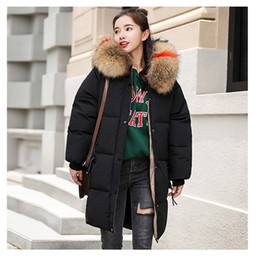 ladies down hooded parka Canada - Women Winter Thicken Down Outerwear Coats Warm Loose Over Knee Long Hooded Down Parkas Coats Women Clothes Lady Fashion Down Garment