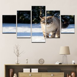 $enCountryForm.capitalKeyWord Australia - Wall Art Living Room Home Decorative Canvas HD Prints Picture 5 Pieces Animal Cat Paintings Landscape Artworks Posters Framework