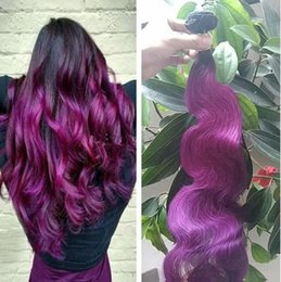 Discount brazilian virgin hair ombre purple - Ombre Purple Body Wave Hair Weaves 3Pcs Lot Brazilian Virgin Human Hair Extensions 1B Purple Two Tone Hair Weaves Free S