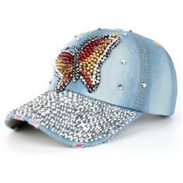 1480ce371e1 Cool stylish summer Outdoor Cap Women Men Butterfly Denim Rhinestone Baseball  Cap Snapback Hip Hop Flat Hat  0604