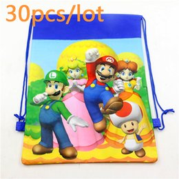 Mario and princess Non-Woven Fabric Drawstring Bags Baby Shower Decoration Backpack Birthday Party Kids Favors Supplies 30pcs from design plastic jewelry bags manufacturers