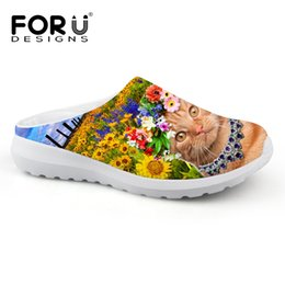Mule Clogs Canada - FORUDESIGNS Summer Style men Mules Clogs Casual Sandals man Shoes Slip On Flats Slippers Cute Animal Cat Face Print Sandals