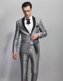 Beige Slim Suits For Men Australia - Handsome Grey Jacket For Groom Tuxedos 2 Pieces Groomsman Suit Wedding Suit For Man Slim Fit Custom Made Man Suit Clothes Party Jacket+Pants