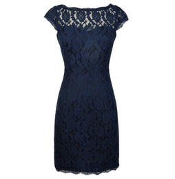 $enCountryForm.capitalKeyWord UK - Dark Navy Lace Sheath Knee Length Mother of the Bride Dresses with Lace for Wedding Party Mother of the groom Dresses