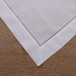 """$enCountryForm.capitalKeyWord NZ - N002-21:12 pieces pack White Hemstitch Dinner Napkins - 55 45 Linen Cotton Blend - 21"""" x 21"""" Ladder Hemstitch Cloth Dinner Napkin"""