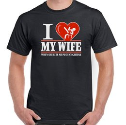 Guitar Electric Acoustic NZ - I Heart My Wife Guitar Mens Funny Guitarist T-Shirt Love Electric Acoustic Bass