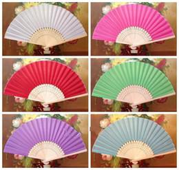 $enCountryForm.capitalKeyWord Canada - Small Plain Silk Folding Fan Wedding Favour Fan Bamboo DIY Program Ladies Hand Fans Chinese Craft 6 inches 10pcs lot