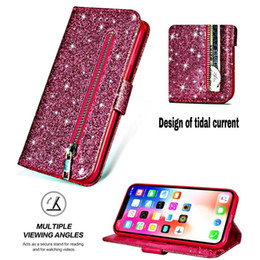 Leather Flip Cases For Iphone Australia - Multifunction Bling Glitter Leather Wallet Case For Iphone XS MAX XR X 10 8 7 6 6S Note 9 Zipper Sparkle ID Cash Pocket Flip Cover Luxury