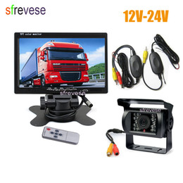 "Trucks Camera NZ - 7"" LCD Monitor Car Rear View Kit + Waterproof 18 IR LED Wireless Reversing Backup Camera for Bus Truck Caravan 12V-24V"