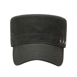 a3c0671e2f1 Cotton Flat Cap Unisex Cadet Army Cap Washed Cotton Twill Corps Hat Flat Top  3 colors to chose