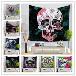 Sofa coStume online shopping - 28 Design skull wall hanging tapestry bar decoration fresco yoga mat beach towel picnic blanket sofa cover costume party backdrop prop