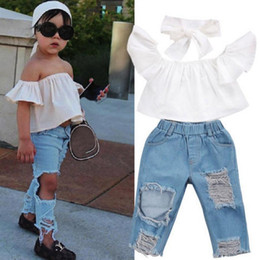$enCountryForm.capitalKeyWord NZ - Kids Baby Girls Clothes Off Shoulder Tops T-Shirt + Ripped Jeans +Headband 3Pcs Outfits Fashion Summer Kid Girl Clothing Boutique Costume