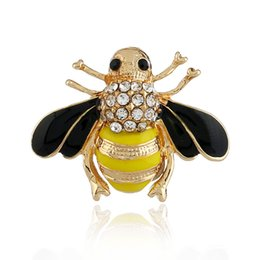 1bd4c5c4163 Enamel Crystal Rhinestone Bee Brooches Honeybee Insect Brooch Pin Women Men  Fashion Jewelry Clothes Accessories