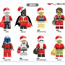 Wholesale Marvel DC Comics Merry Christmas Boy Super Heroes Joker Wiley Jango Fett Jack Skellington Building Blocks Bricks Educational Toy Ornaments