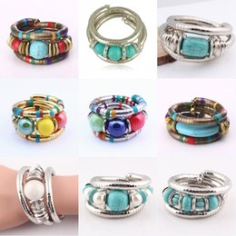 Charms Wire Wrapping Australia - Flexible Snake Bracelet Multi Wrap Silver Antique Tibetan Bangle Beaded Memory Wire Women Bracelet Chain Jewelry Simple Bangles Gifts H82F