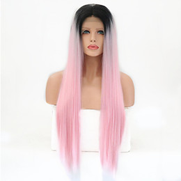 $enCountryForm.capitalKeyWord Australia - Hot Synthetic Lace Front Wig 2 Tones Ombre Pink Long Straight Layered Haircut Synthetic Hair Heat Resistant Wig Women's Cosplay Party Wig