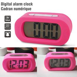 Square Desk Clock Canada - Wholesale-Free Shipping Pink Eletronic Silicon Big Display Alarm Desk Clocks Snooze+Backlight LED Pink Color Clocks Alarm Nightlight Clock