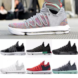 color kd shoes 2019 - KD Basketball shoes Mens KD 10 Sport Sneakers Triple Black White BHM Oreo Anniversary Red Multi Color Elite Durant disco