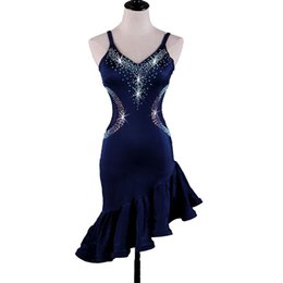 Costumes Navy UK - Latin Dance Dress Costumes Women Salsa Tango Dress D372 Navy with Bra Cup Underwear Rhinestones Irregular Hem Sleeveless