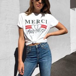 7268079b63e Harajuku Summer White T Shirt Mujeres Merci Heart impreso camiseta Mujeres  coreanas Style Tops Tee Streetwear Clothes