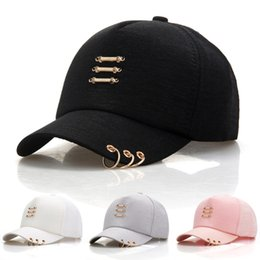 c77409eb0a7 Fashion Korea Hip Hop Caps with Rings Women Men Casual Solid Color Snapback  Cap Hat Summer Baseball Cap
