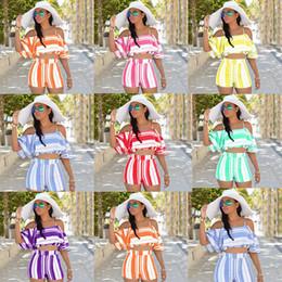 Conjuntos de dos piezas para mujer Nuevo Con volantes de tops cortos en los hombros + Pantalones cortos de pierna ancha Rayas de moda Bohemia Beach conjuntos cortos 7 colores