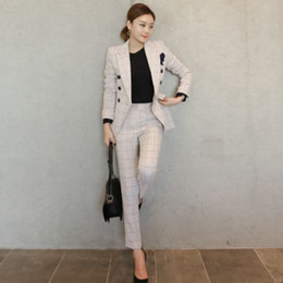 Vintage flying jackets online shopping - Work office pants and jackets two pieces set women blazer suit autumn vintage beige plaid business formal suits for women